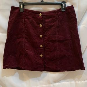 Maroon corduroy button front skirt
